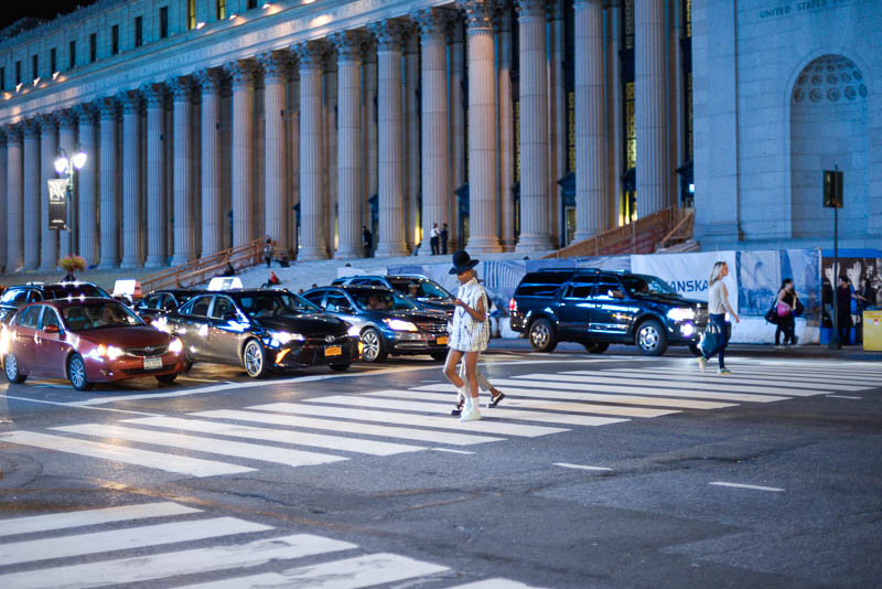 Fashion Week NY Venue with Attendees crossing
